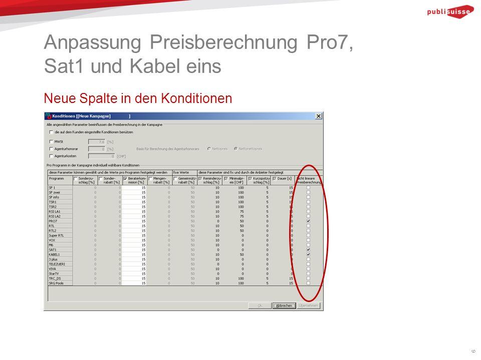 Anpassung Preisberechnung Pro7, Sat1 und Kabel eins Neue Spalte in den Konditionen 6