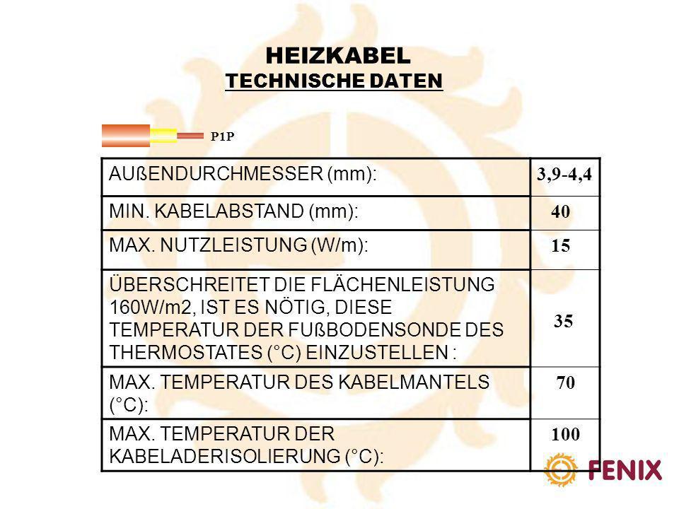 AUßENDURCHMESSER (mm): 3,6-4,6 MIN. KABELABSTAND (mm): 40 MAX. NUTZLEISTUNG (W/m): 15 ÜBERSCHREITET DIE FLÄCHENLEISTUNG 160W/m2, IST ES NÖTIG, DIESE T