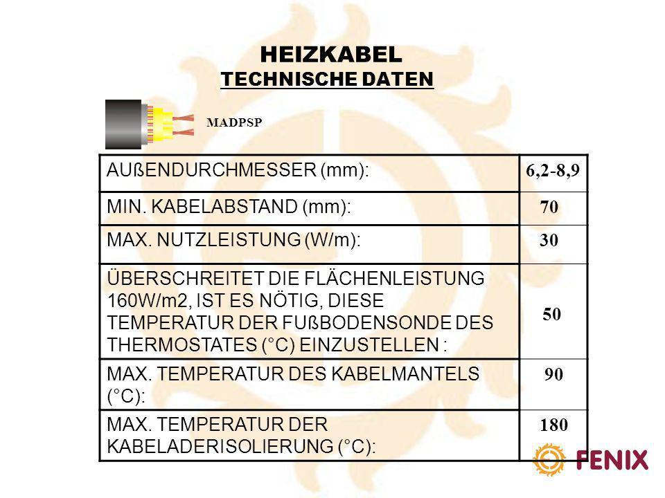 AUßENDURCHMESSER (mm): 5,0-5,5 MIN. KABELABSTAND (mm): 60 MAX. NUTZLEISTUNG (W/m): 25 ÜBERSCHREITET DIE FLÄCHENLEISTUNG 160W/m2, IST ES NÖTIG, DIESE T