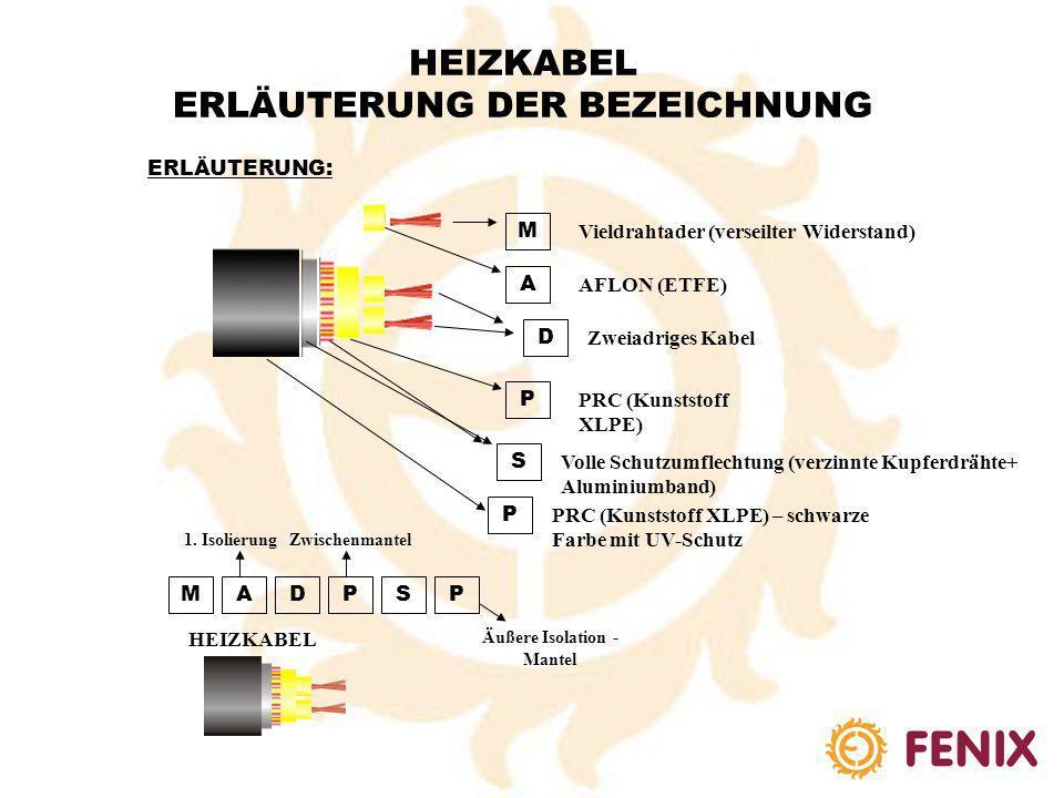HEIZKABEL ERLÄUTERUNG DER BEZEICHNUNG ERLÄUTERUNG A D M SL S P 1P A FLON (Kunststoff Fluorpolymer ETFE) Z weiadriges Kabel V ieldrahtader (verseilter