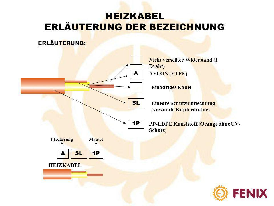 HEIZKABEL ERLÄUTERUNG DER BEZEICHNUNG ERLÄUTERUNG: M A Vieldrahtader (verseilter Widerstand) D P S P MADPSP HEIZKABEL AFLON (ETFE) Zweiadriges Kabel P