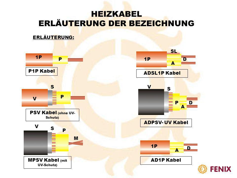HEIZKABEL ERLÄUTERUNG DER BEZEICHNUNG ERLÄUTERUNG: A Nicht verseilter Widerstand (1 Draht) SL 1P ASL1P HEIZKABEL AFLON (ETFE) Einadriges Kabel Lineare