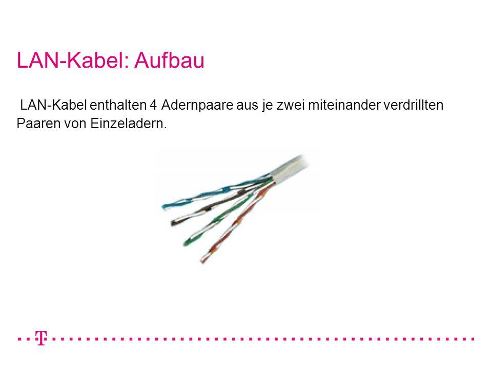 LAN-Kabel: Aufbau LAN-Kabel enthalten 4 Adernpaare aus je zwei miteinander verdrillten Paaren von Einzeladern.