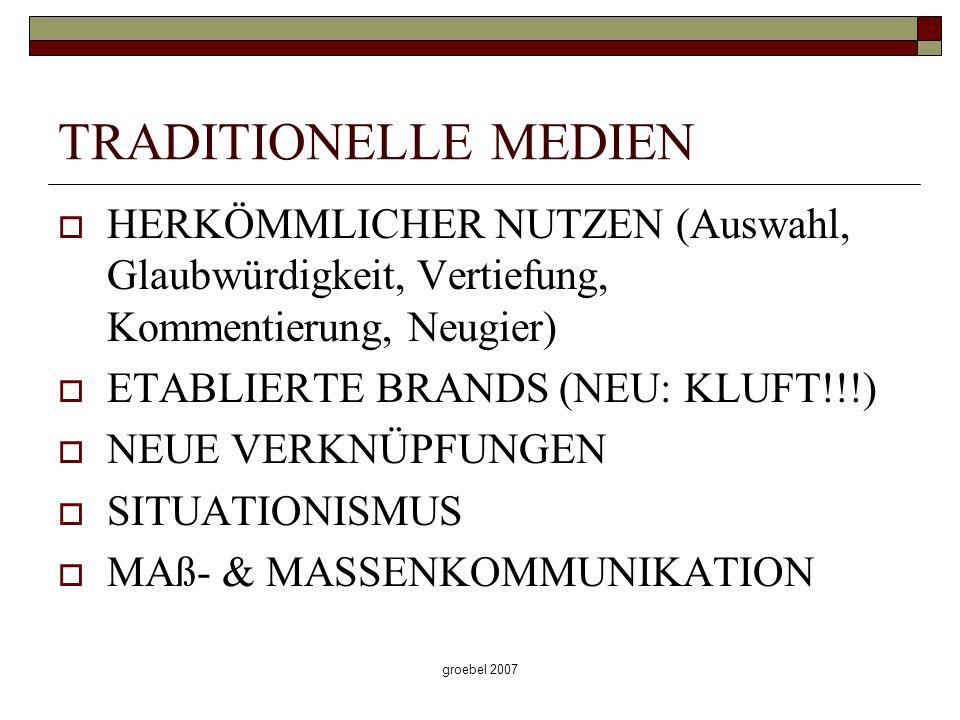 groebel 2007 TRADITIONELLE MEDIEN HERKÖMMLICHER NUTZEN (Auswahl, Glaubwürdigkeit, Vertiefung, Kommentierung, Neugier) ETABLIERTE BRANDS (NEU: KLUFT!!!