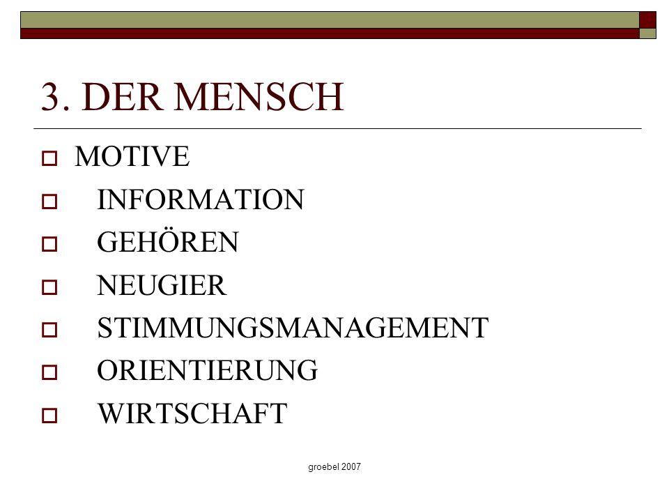 groebel 2007 3. DER MENSCH MOTIVE INFORMATION GEHÖREN NEUGIER STIMMUNGSMANAGEMENT ORIENTIERUNG WIRTSCHAFT