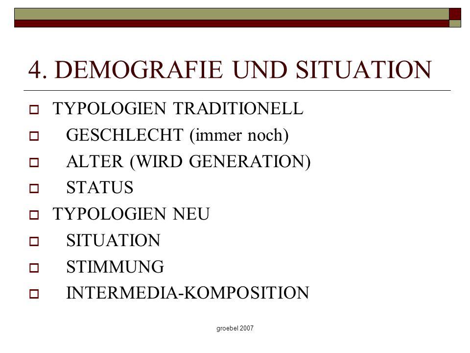 groebel 2007 4. DEMOGRAFIE UND SITUATION TYPOLOGIEN TRADITIONELL GESCHLECHT (immer noch) ALTER (WIRD GENERATION) STATUS TYPOLOGIEN NEU SITUATION STIMM
