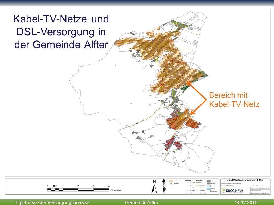 Ergebnisse der VersorgungsanalyseGemeinde Alfter14.12.2010 Zwischenergebnisse Kabel-TV-Netze und DSL-Versorgung in der Gemeinde Alfter Bereich mit Kab