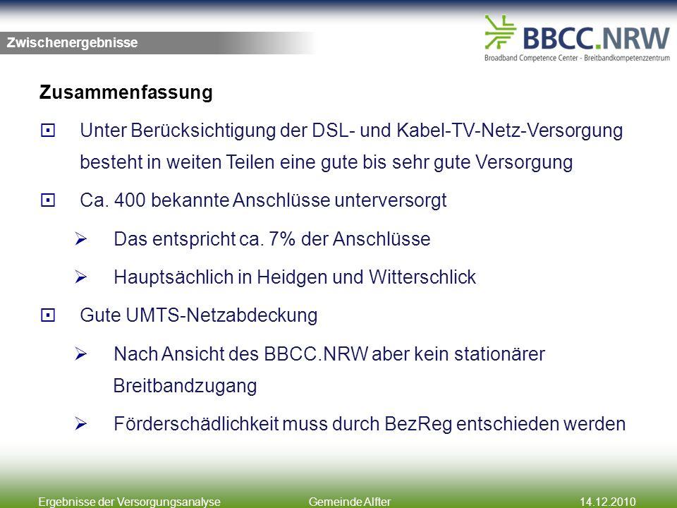 Ergebnisse der VersorgungsanalyseGemeinde Alfter14.12.2010 Zusammenfassung Unter Berücksichtigung der DSL- und Kabel-TV-Netz-Versorgung besteht in weiten Teilen eine gute bis sehr gute Versorgung Ca.