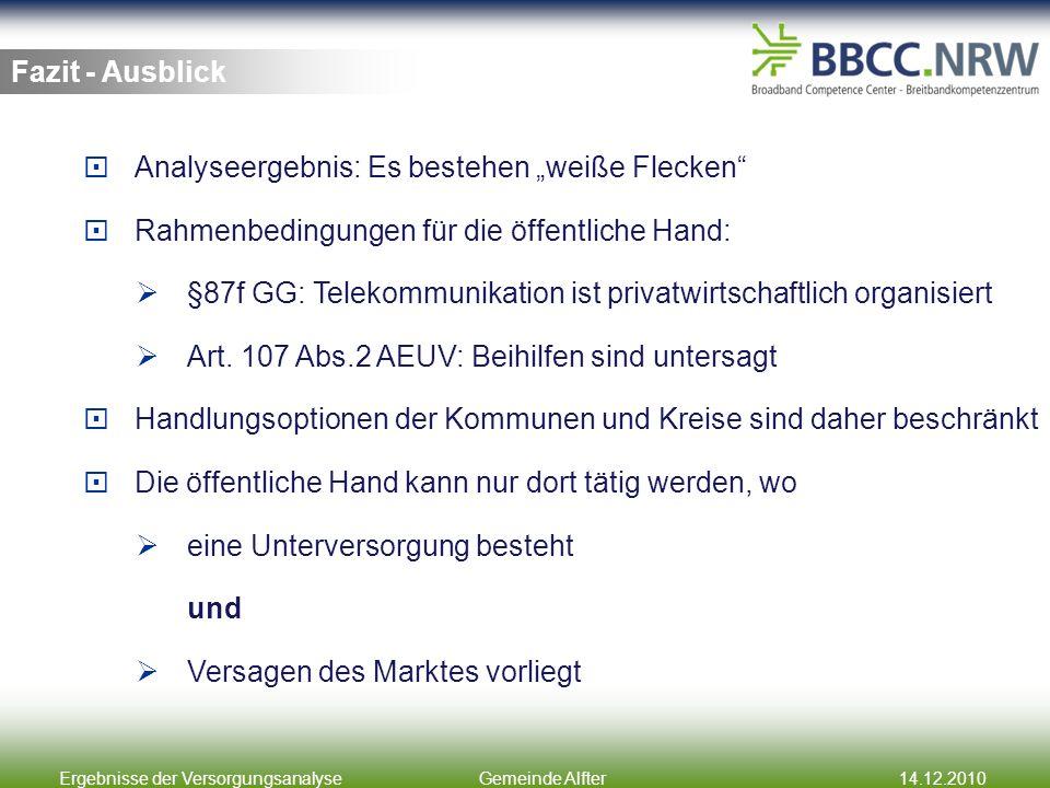 Ergebnisse der VersorgungsanalyseGemeinde Alfter14.12.2010 Fazit - Ausblick Analyseergebnis: Es bestehen weiße Flecken Rahmenbedingungen für die öffen