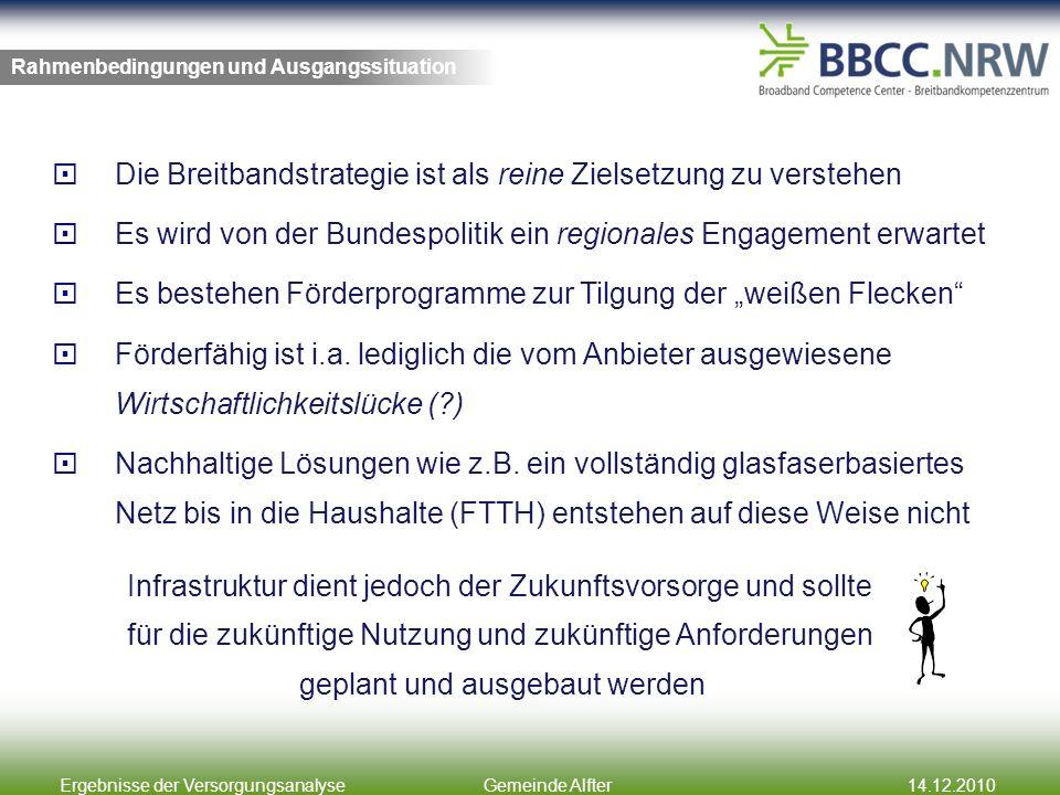 Ergebnisse der VersorgungsanalyseGemeinde Alfter14.12.2010 Die Breitbandstrategie ist als reine Zielsetzung zu verstehen Es wird von der Bundespolitik