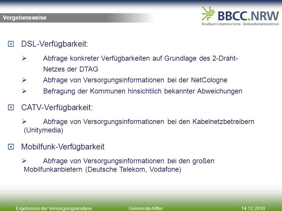 Ergebnisse der VersorgungsanalyseGemeinde Alfter14.12.2010 Zwischenergebnisse Kabel-TV-Netze und DSL-Versorgung in der Gemeinde Alfter Bereich mit Kabel-TV-Netz