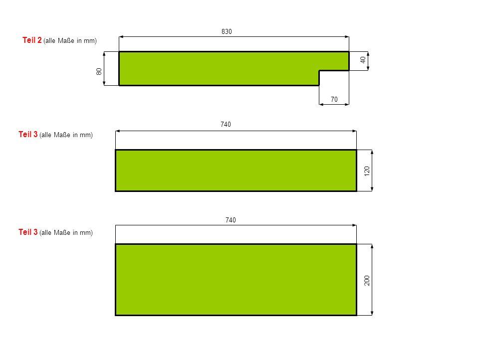 80 70 40 830 Teil 2 (alle Maße in mm) Teil 3 (alle Maße in mm) 740 120 Teil 3 (alle Maße in mm) 740 200
