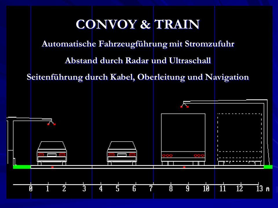 CONVOY & TRAIN Automatische Fahrzeugführung mit Stromzufuhr Abstand durch Radar und Ultraschall Seitenführung durch Kabel, Oberleitung und Navigation