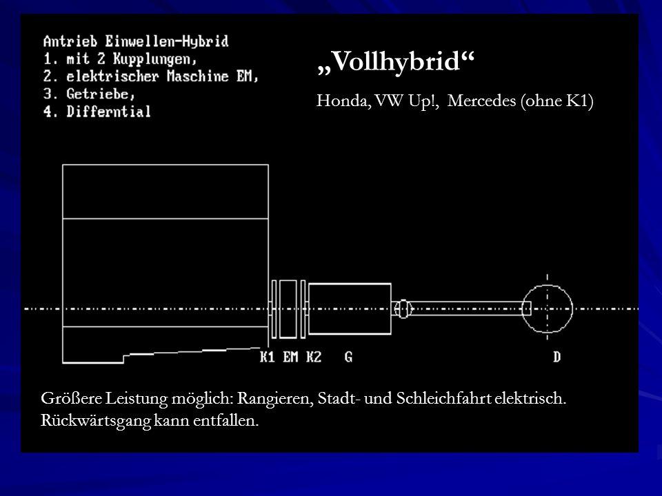 Größere Leistung möglich: Rangieren, Stadt- und Schleichfahrt elektrisch. Rückwärtsgang kann entfallen. Vollhybrid Honda, VW Up!, Mercedes (ohne K1)