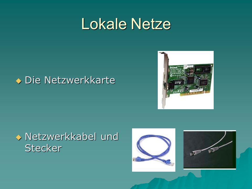 Lokale Netze Die Netzwerkkarte Die Netzwerkkarte Netzwerkkabel und Stecker Netzwerkkabel und Stecker
