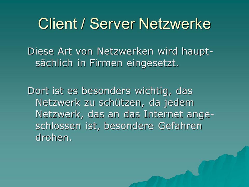 Client / Server Netzwerke Diese Art von Netzwerken wird haupt- sächlich in Firmen eingesetzt. Dort ist es besonders wichtig, das Netzwerk zu schützen,