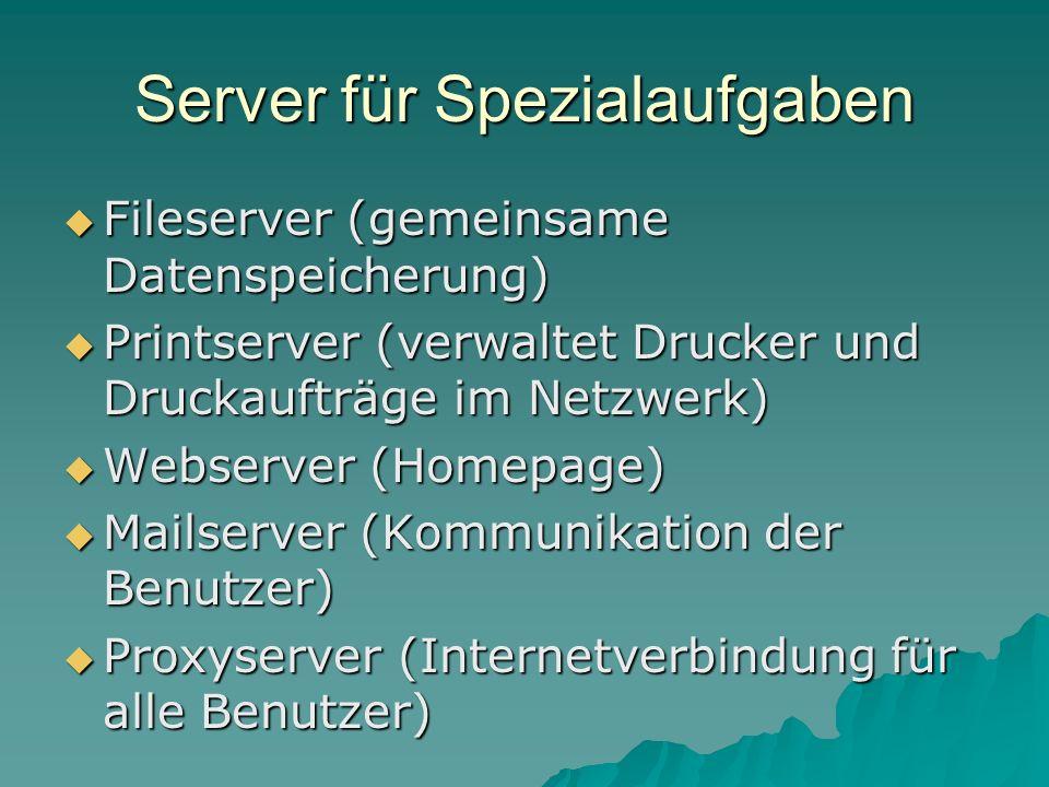Server für Spezialaufgaben Fileserver (gemeinsame Datenspeicherung) Fileserver (gemeinsame Datenspeicherung) Printserver (verwaltet Drucker und Drucka
