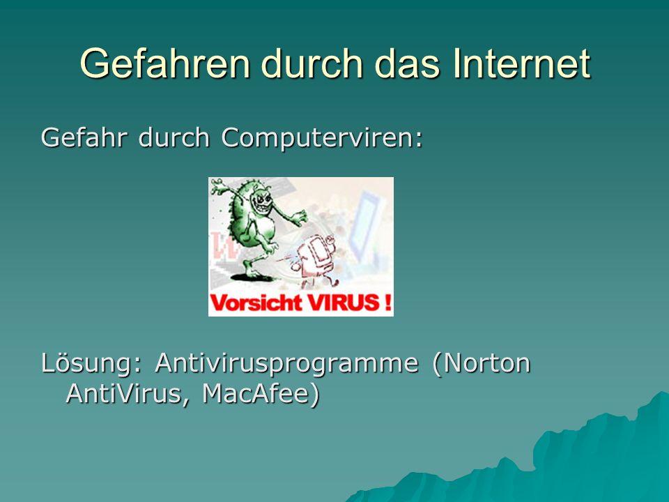 Gefahren durch das Internet Gefahr durch Computerviren: Lösung: Antivirusprogramme (Norton AntiVirus, MacAfee)