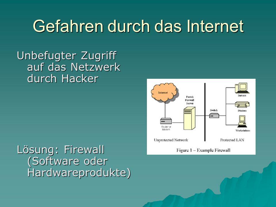 Gefahren durch das Internet Unbefugter Zugriff auf das Netzwerk durch Hacker Lösung: Firewall (Software oder Hardwareprodukte)