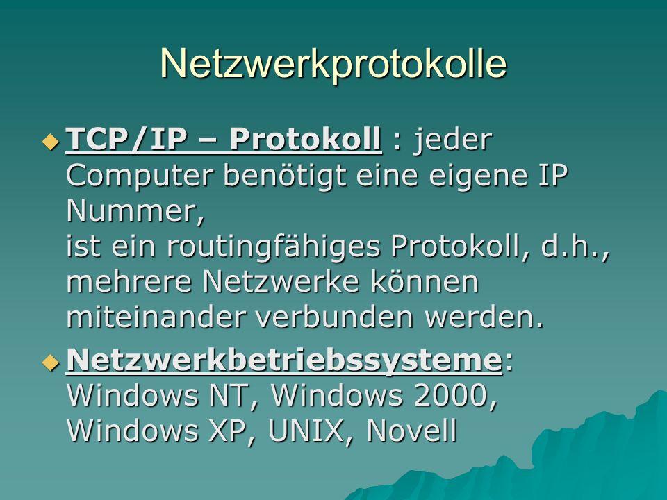 Netzwerkprotokolle TCP/IP – Protokoll : jeder Computer benötigt eine eigene IP Nummer, ist ein routingfähiges Protokoll, d.h., mehrere Netzwerke könne