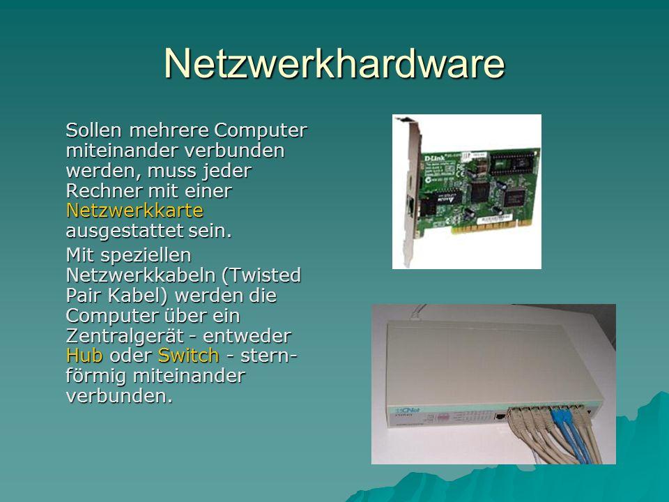 Netzwerkhardware Sollen mehrere Computer miteinander verbunden werden, muss jeder Rechner mit einer Netzwerkkarte ausgestattet sein. Mit speziellen Ne