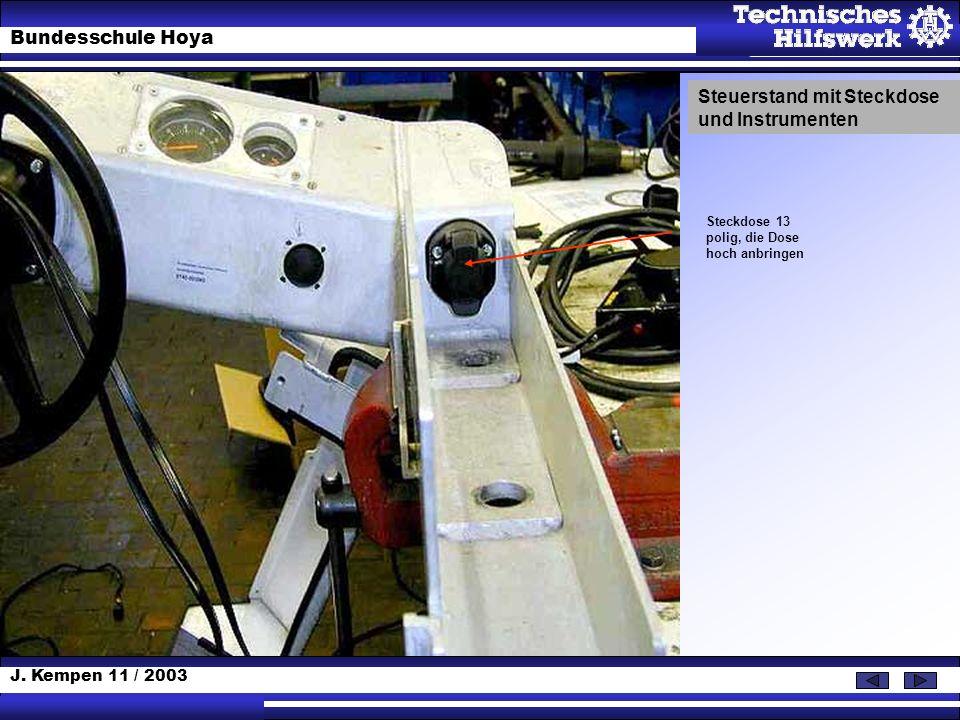 J. Kempen 11 / 2003 Bundesschule Hoya Steckdose 13 polig, die Dose hoch anbringen Steuerstand mit Steckdose und Instrumenten