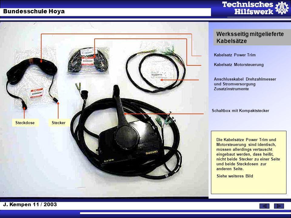 J. Kempen 11 / 2003 Bundesschule Hoya Werksseitig mitgelieferte Kabelsätze Kabelsatz Power Trim Kabelsatz Motorsteuerung Anschlusskabel Drehzahlmesser