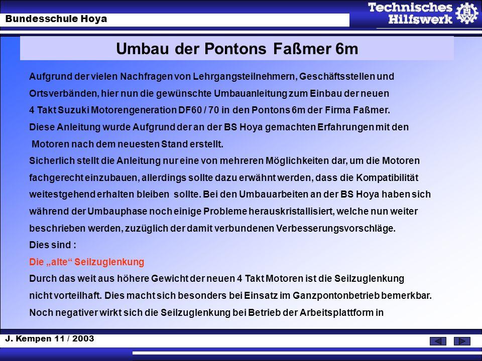 J. Kempen 11 / 2003 Bundesschule Hoya Umbau der Pontons Faßmer 6m Aufgrund der vielen Nachfragen von Lehrgangsteilnehmern, Geschäftsstellen und Ortsve