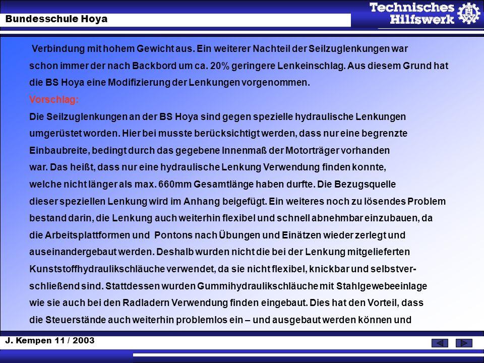 J. Kempen 11 / 2003 Bundesschule Hoya Verbindung mit hohem Gewicht aus. Ein weiterer Nachteil der Seilzuglenkungen war schon immer der nach Backbord u