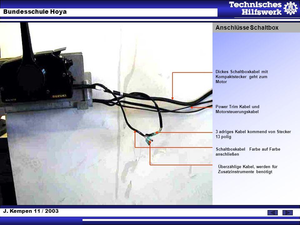 J. Kempen 11 / 2003 Bundesschule Hoya 3 adriges Kabel kommend von Stecker 13 polig Schaltboxkabel Farbe auf Farbe anschließen Überzählige Kabel, werde