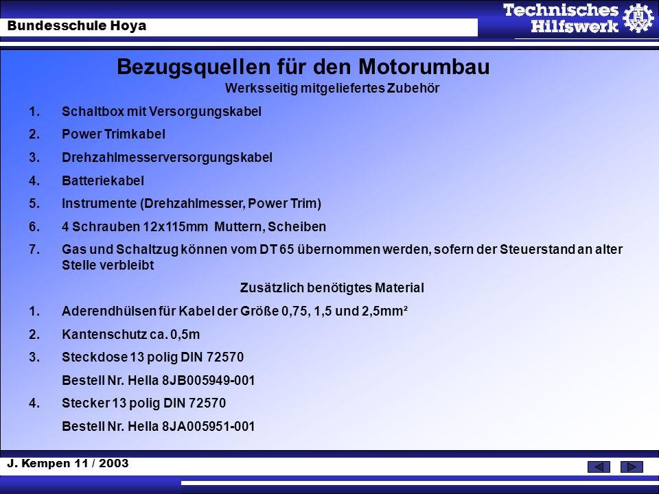 J. Kempen 11 / 2003 Bundesschule Hoya Bezugsquellen für den Motorumbau Werksseitig mitgeliefertes Zubehör 1.Schaltbox mit Versorgungskabel 2.Power Tri