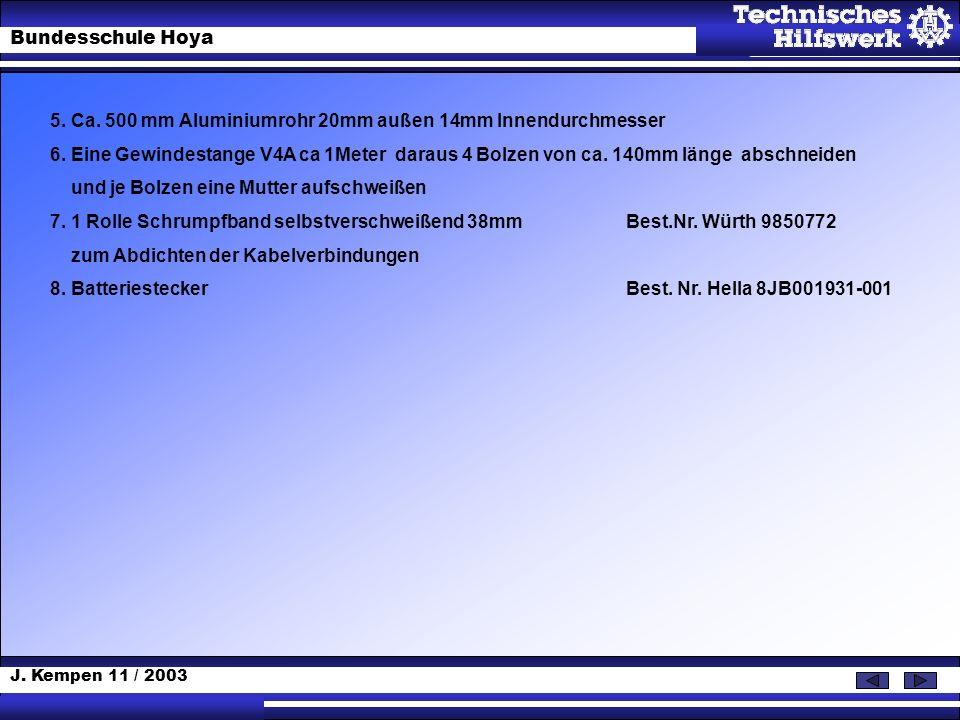 J. Kempen 11 / 2003 Bundesschule Hoya 5. Ca. 500 mm Aluminiumrohr 20mm außen 14mm Innendurchmesser 6. Eine Gewindestange V4A ca 1Meter daraus 4 Bolzen