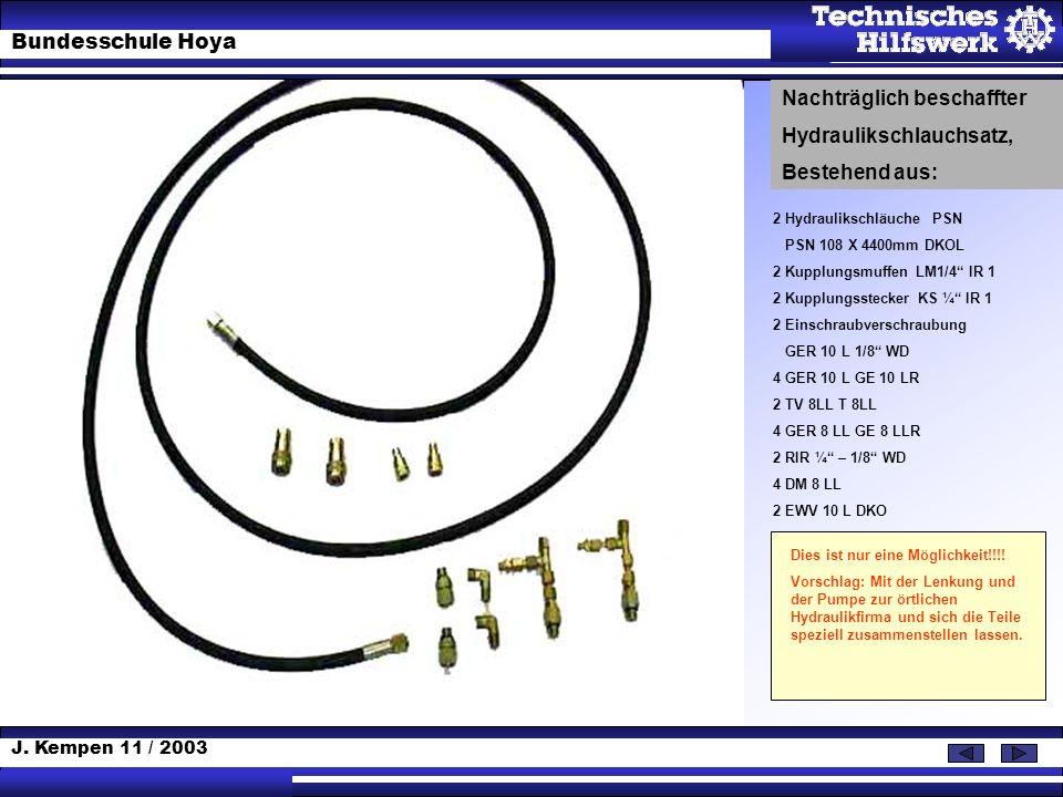 J. Kempen 11 / 2003 Bundesschule Hoya 2 Hydraulikschläuche PSN PSN 108 X 4400mm DKOL 2 Kupplungsmuffen LM1/4 IR 1 2 Kupplungsstecker KS ¼ IR 1 2 Einsc