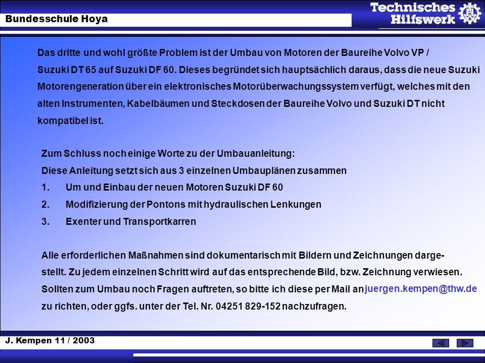 J. Kempen 11 / 2003 Bundesschule Hoya Zum Schluss noch einige Worte zu der Umbauanleitung: Diese Anleitung setzt sich aus 3 einzelnen Umbauplänen zusa
