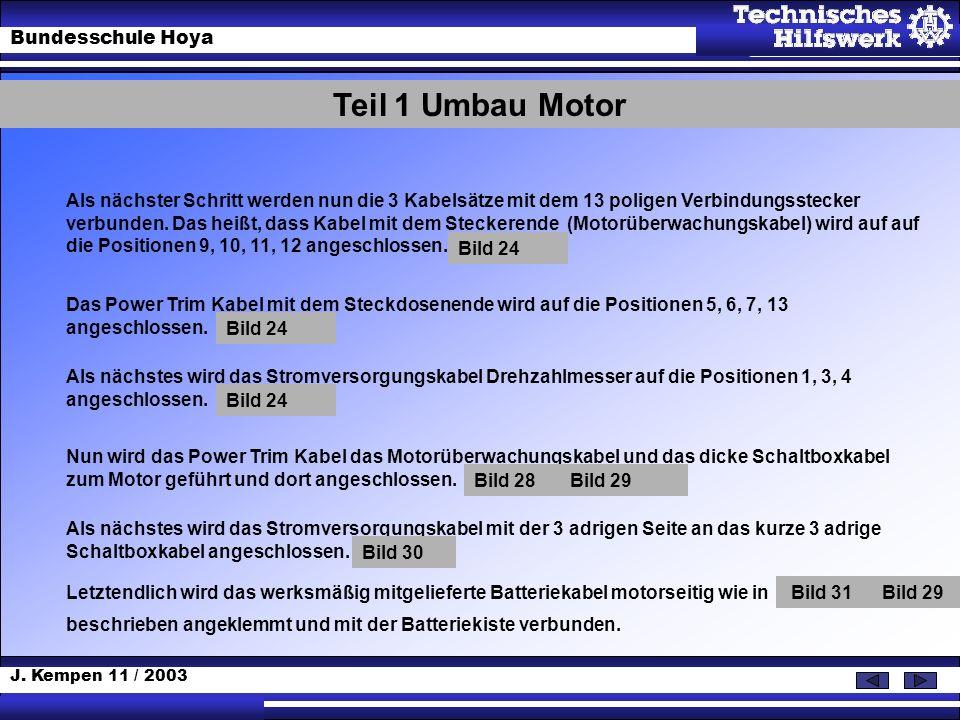 J. Kempen 11 / 2003 Bundesschule Hoya Als nächster Schritt werden nun die 3 Kabelsätze mit dem 13 poligen Verbindungsstecker verbunden. Das heißt, das