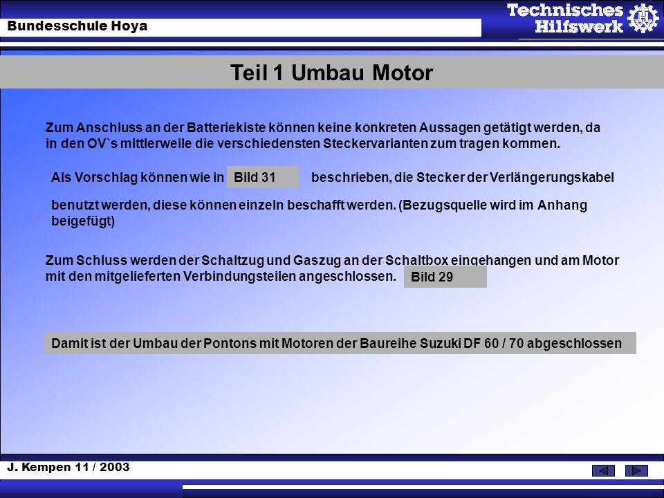 J. Kempen 11 / 2003 Bundesschule Hoya Kabelanschlüsse Instrumente