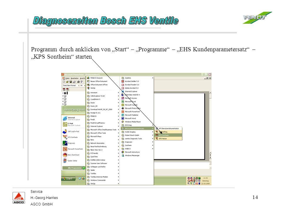 14 Service H.-Georg Harries AGCO GmbH Programm durch anklicken von Start – Programme – EHS Kundenparametersatz – KPS Sontheim starten