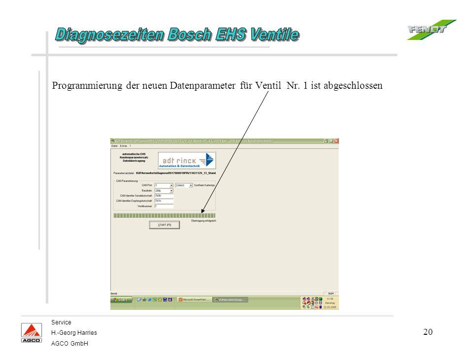 20 Service H.-Georg Harries AGCO GmbH Programmierung der neuen Datenparameter für Ventil Nr. 1 ist abgeschlossen