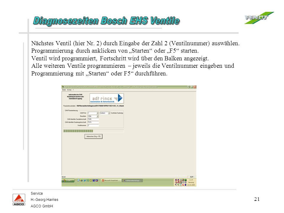 21 Service H.-Georg Harries AGCO GmbH Nächstes Ventil (hier Nr. 2) durch Eingabe der Zahl 2 (Ventilnummer) auswählen. Programmierung durch anklicken v