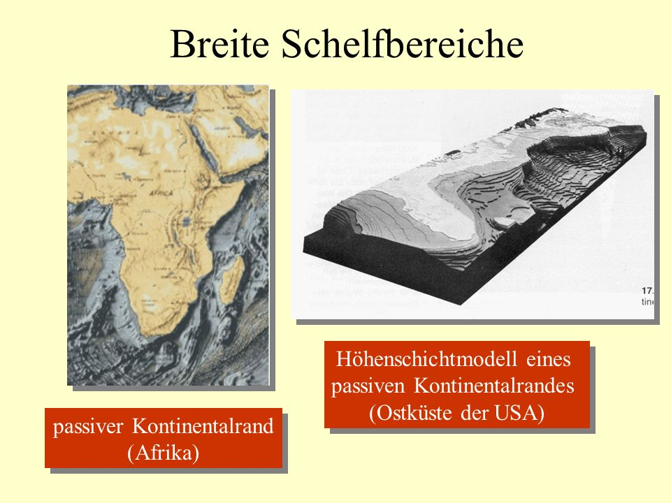 Breite Schelfbereiche passiver Kontinentalrand (Afrika) passiver Kontinentalrand (Afrika) Höhenschichtmodell eines passiven Kontinentalrandes (Ostküste der USA) Höhenschichtmodell eines passiven Kontinentalrandes (Ostküste der USA)
