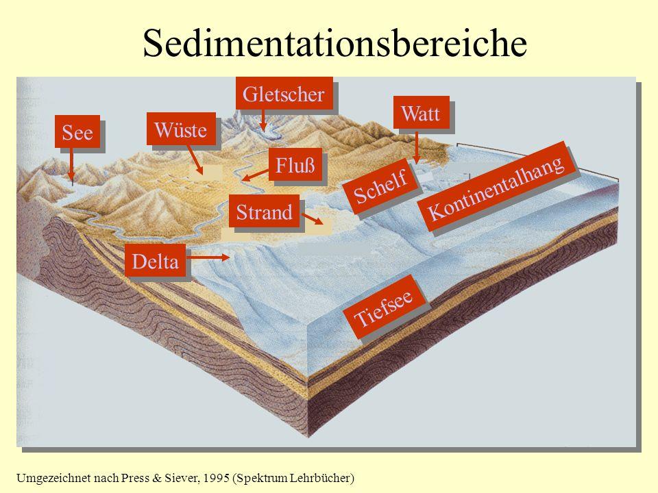 Sedimentationsbereiche See Fluß Strand Watt Schelf Kontinentalhang Tiefsee Delta Gletscher Wüste Umgezeichnet nach Press & Siever, 1995 (Spektrum Lehrbücher)