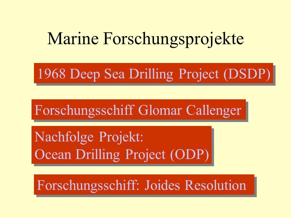 Marine Forschungsprojekte 1968 Deep Sea Drilling Project (DSDP) Forschungsschiff Glomar Callenger Nachfolge Projekt: Ocean Drilling Project (ODP) Nachfolge Projekt: Ocean Drilling Project (ODP) Forschungsschiff: Joides Resolution