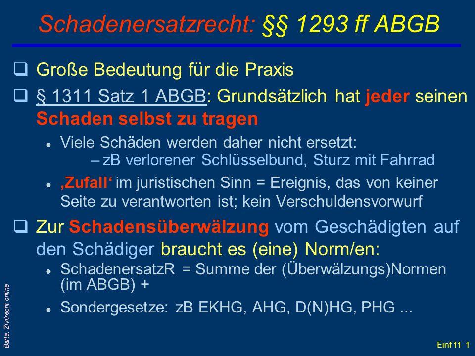Einf 11 1 Barta: Zivilrecht online Schadenersatzrecht: §§ 1293 ff ABGB qGroße Bedeutung für die Praxis q§ 1311 Satz 1 ABGB: Grundsätzlich hat jeder se