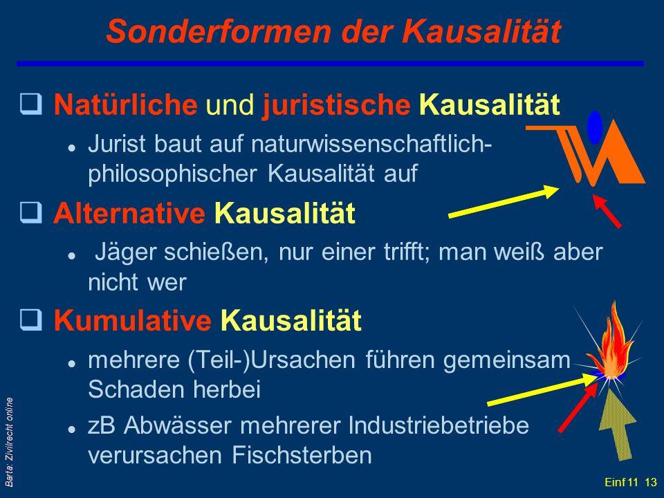 Einf 11 13 Barta: Zivilrecht online Sonderformen der Kausalität qKumulative Kausalität l mehrere (Teil-)Ursachen führen gemeinsam Schaden herbei l zB