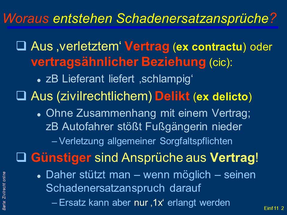 Einf 11 2 Barta: Zivilrecht online Woraus entstehen Schadenersatzansprüche ? qAus verletztem Vertrag (ex contractu) oder vertragsähnlicher Beziehung (