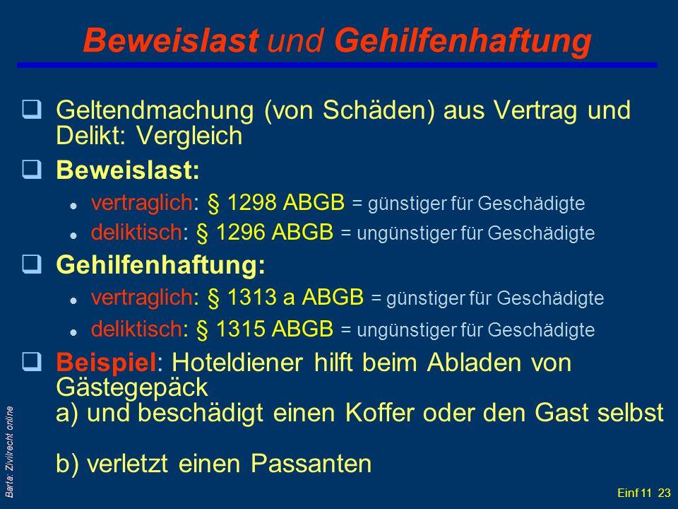 Einf 11 23 Barta: Zivilrecht online Beweislast und Gehilfenhaftung qGeltendmachung (von Schäden) aus Vertrag und Delikt: Vergleich qBeweislast: l vert