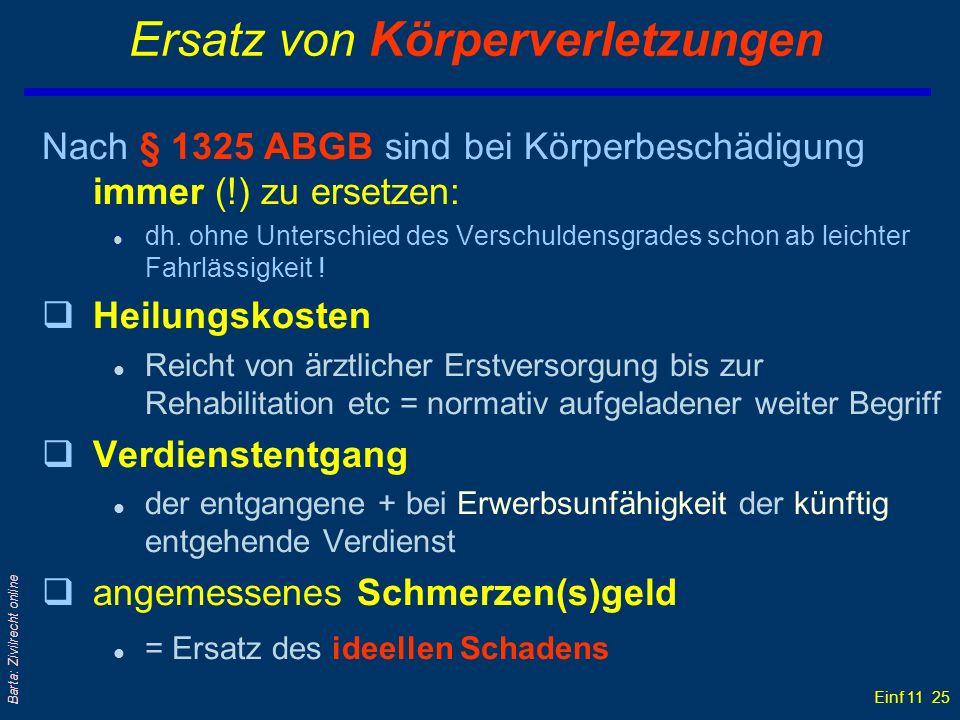 Einf 11 25 Barta: Zivilrecht online Ersatz von Körperverletzungen Nach § 1325 ABGB sind bei Körperbeschädigung immer (!) zu ersetzen: l dh. ohne Unter