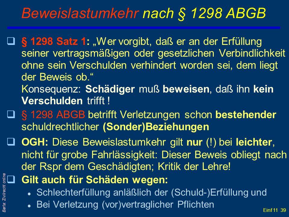 Einf 11 39 Barta: Zivilrecht online Beweislastumkehr nach § 1298 ABGB q§ 1298 Satz 1: Wer vorgibt, daß er an der Erfüllung seiner vertragsmäßigen oder