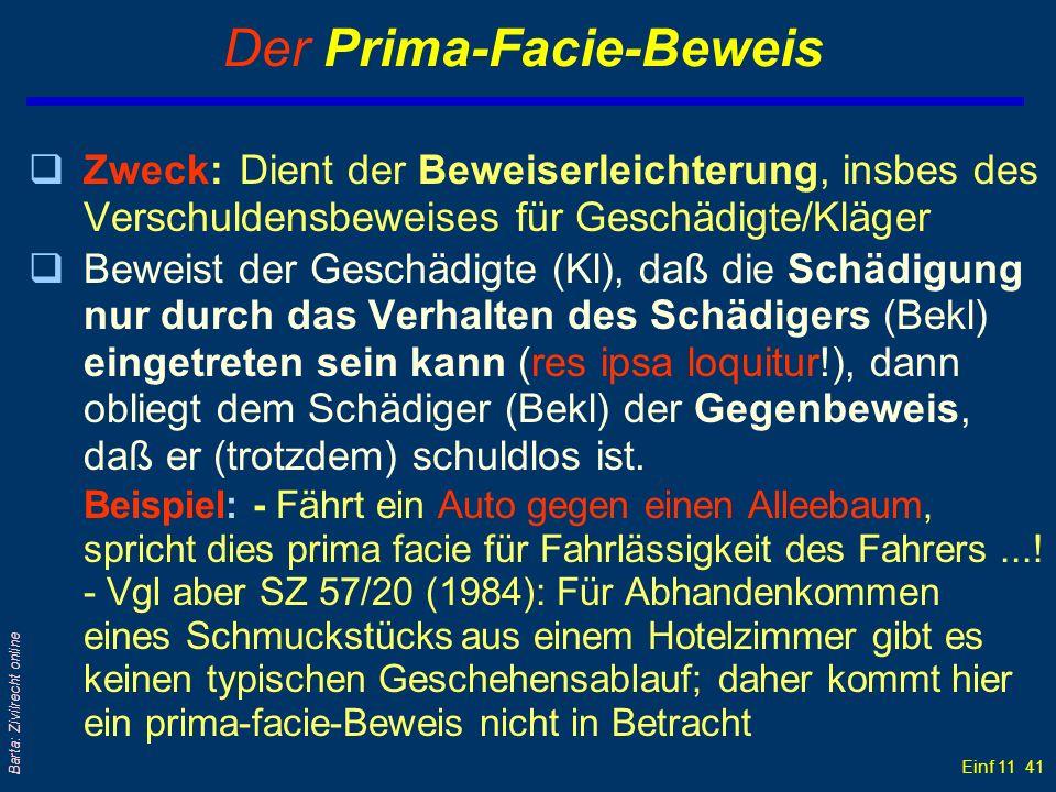 Einf 11 41 Barta: Zivilrecht online Der Prima-Facie-Beweis qZweck:Dient der Beweiserleichterung, insbes des Verschuldensbeweises für Geschädigte/Kläge
