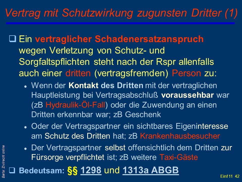 Einf 11 42 Barta: Zivilrecht online Vertrag mit Schutzwirkung zugunsten Dritter (1) qEin vertraglicher Schadenersatzanspruch wegen Verletzung von Schu